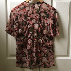Zara Floral Blouse With Pockets